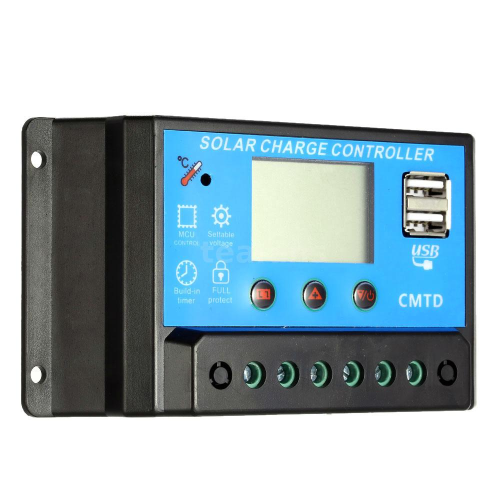 10a 20a Lcd Solar Li Ion Batteries Charge Controller Pwm