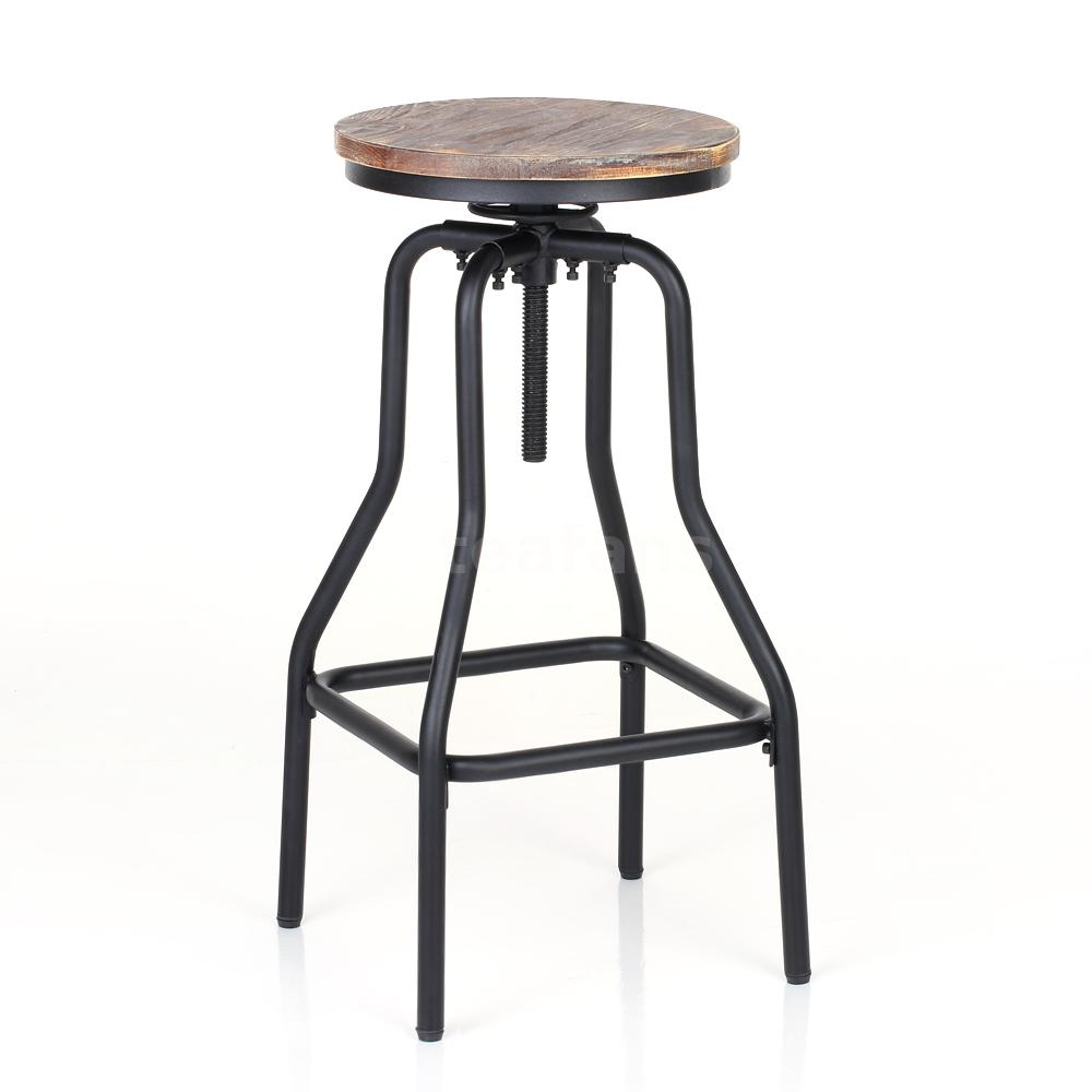 Height Adjustable Swivel Barstool Natural Pinewood Kitchen Dining Chair Stool