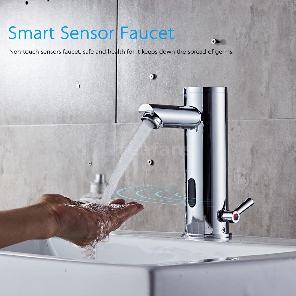 Automatic Sensor Induction Copper Hot & Cold Water Mixer Sink Faucet ...
