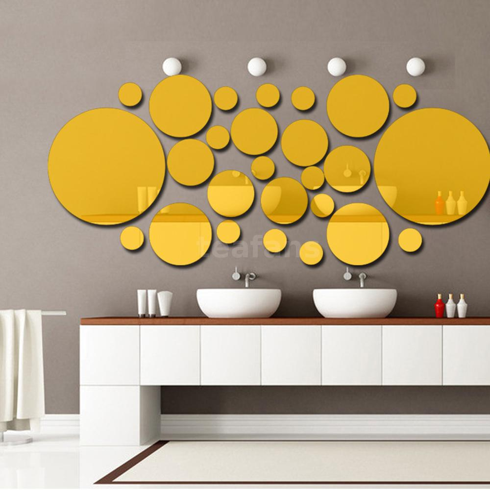 26pcs DIY Acrylic Polka Dot Mirror Wall Stickers Art Mural Decals ...
