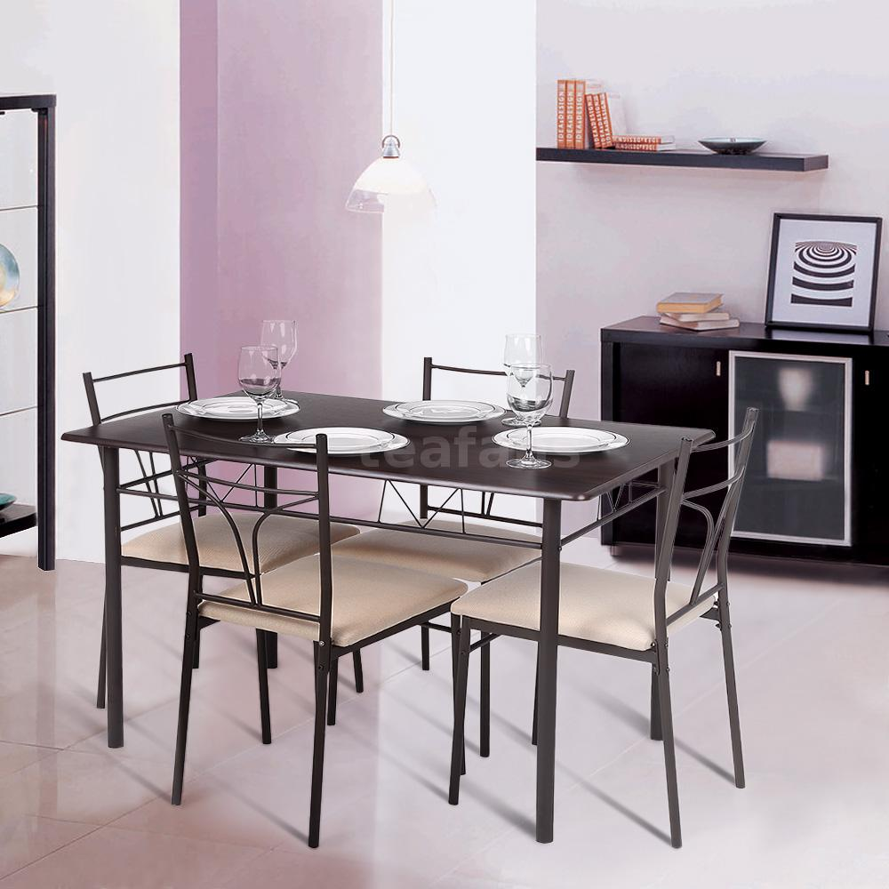 5 Piece Dining Set Modern Metal 4 Chairs And Kitchen Table I0O7